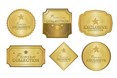 Exclusive collection sale golden badge set. Gold label  illustration Stock Photos