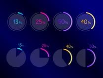 Exclusive dark blue pie circle chart, graph. Line design. Stock Images