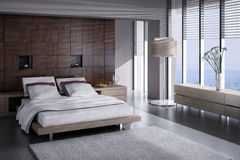 Exclusive Design Bedroom | 3d Interior architecture Royalty Free Stock Photos