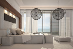 Exclusive Design Bedroom | 3d Interior architecture Stock Photos