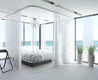 Exclusive Design Bedroom with seascape view. A 3d rendering of an exclusive Design Bedroom with seascape view Royalty Free Stock Image