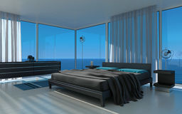 Exclusive Design Bedroom with seascape view Royalty Free Stock Image