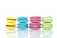 Colourful macro sweet macaroons cookies. This is an exclusive dessert that will give you great pleasure Stock Photos