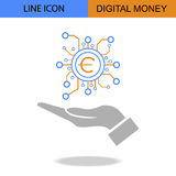 Exclusive Digital Money Flat Line vector icon.  Royalty Free Stock Photo