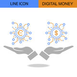 Exclusive Double Digital Money Flat Line vector icon.  Royalty Free Stock Photography
