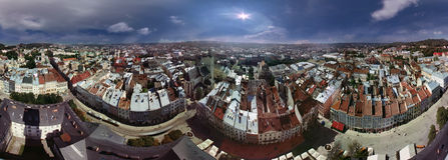 EXCLUSIVE-glued panorama Lviv Stock Image