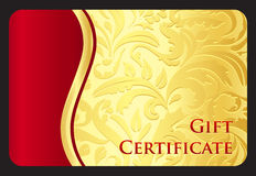 Exclusive golden gift card with victorian pattern Stock Images