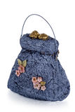 Exclusive handmade toy in the form of blue handbag, isolated on Stock Image