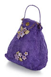 Exclusive handmade toy in the form of purple handbag Royalty Free Stock Photography