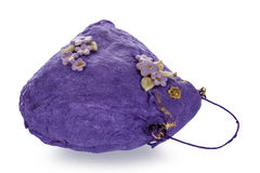 Exclusive handmade toy in the form of purple handbag Stock Images