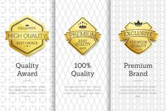 Exclusive High Quality Awards Premium Brand Set. Exclusive high quality awards premium standard brand set of posters with golden labels, certificate stamps royalty free illustration