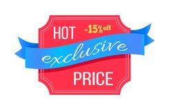 Exclusive Hot Price 15 Percent Off Promotion Card. Vector illustration with white advertising text isolated on blue swirl ribbon and light red template Stock Illustration