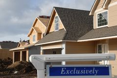 Exclusive house market. In a new subdivision Royalty Free Stock Photos