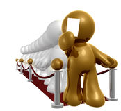Exclusive line on red carpet. 3d icon Royalty Free Stock Images