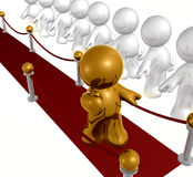 Exclusive line on red carpet. 3d icon Royalty Free Stock Image