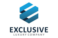 Exclusive logo. Logo design of letter e in exclusive Royalty Free Stock Image