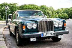 Exclusive Luxury green car Rolls Royce Silver shadow II Stock Image
