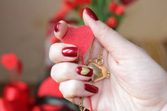 Exclusive manicure and composition for Valentine`s day. Stock Image