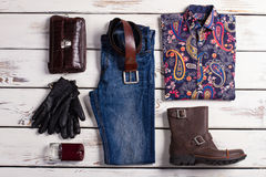 Exclusive mens clothing. Set of design menswear. Exclusive mens clothing Royalty Free Stock Photos