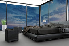 Exclusive modern design bedroom with aerial view. A 3d rendering of an exclusive modern design bedroom with aerial view Royalty Free Stock Photo