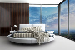 Exclusive modern design bedroom with aerial view. A 3d rendering of an exclusive modern design bedroom with aerial view Royalty Free Stock Images