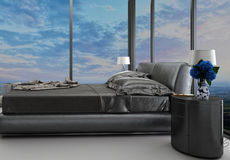 Exclusive modern design bedroom with aerial view. A 3d rendering of an exclusive modern design bedroom with aerial view Royalty Free Stock Image