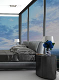 Exclusive modern design bedroom with aerial view Royalty Free Stock Image
