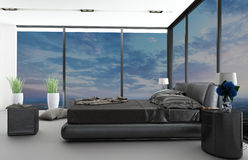 Exclusive modern design bedroom with aerial view Royalty Free Stock Photography