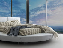 Exclusive modern design bedroom with aerial view. A 3d rendering of an exclusive modern design bedroom with aerial view Royalty Free Stock Photography