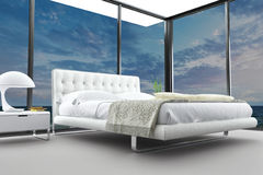 Exclusive modern design bedroom with aerial view. A 3d rendering of an exclusive modern design bedroom with aerial view Royalty Free Stock Photos