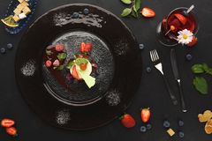 Exclusive mousse dessert served at restaurant Royalty Free Stock Images