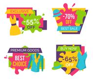 Exclusive 55 Off 70 Best Sale Premium Goods Set. Exclusive 55 off 70 sale premium goods best choice buy now 65 percent set of advertisement labels clothing Stock Illustration
