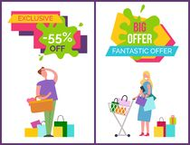 Exclusive -55 Off and Big Offer Vector Illustration. Exclusive -55 off and big and fantastic offer, banners with man, basket and bags, and woman with cart and stock illustration