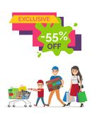 Exclusive -55 Off Placard on Vector Illustration. Exclusive -55 off placard with headline in frame and family with bags, little boy walking with cart on vector stock illustration
