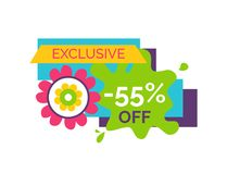 Exclusive 55 Off Premium Label Flower Bud, Vector. Exclusive 55 off premium label with flower bud, vector shopping sale sticker with blooming abstract plant in vector illustration
