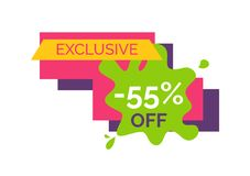 Exclusive -55 Off Sticker on Vector Illustration. Exclusive -55 off, unique sticker representing number and percent, text sample on blood and rectangles on vector illustration
