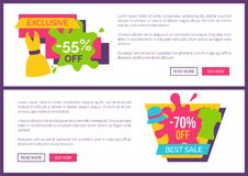 Exclusive Offer 55 Best Sale 70 Off Promo Price. Premium quality hot sale set of web posters summer mode apparels dresses and trousers vector banners Stock Illustration