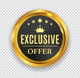 Exclusive Offer Golden Medal Icon Seal  Sign  on White B. Ackground. Vector Illustration EPS10 Stock Image