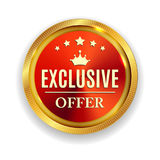 Exclusive Offer Golden Medal Icon Seal  Sign  on White B Royalty Free Stock Photos