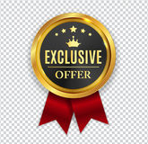 Exclusive Offer Golden Medal Icon Seal Sign on White B royalty free illustration
