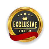 Exclusive Offer Golden Medal Icon Seal  Sign  on White B. Ackground. Vector Illustration EPS10 Stock Images