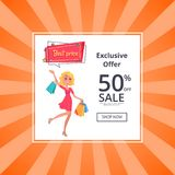 Exclusive Offer 50 Percent Sale Poster Online Royalty Free Stock Photos