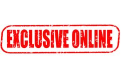 Exclusive online red stamp. On white background Stock Photo