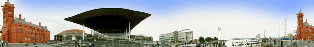 EXCLUSIVE - Panorama of Cardiff Docks stock photography