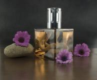 Exclusive parfum in zen setting stock photos