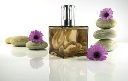 Exclusive parfum in zen setting stock photo