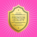 Exclusive Premium Quality Best Golden label guarantee. Since 1980 sticker award gold ribbons, vector illustration certificate isolated on pink background Stock Illustration