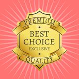 Exclusive Premium Quality Best Golden label guarantee. Sticker award gold ribbons, vector illustration certificate isolated on pink background with rays Royalty Free Illustration