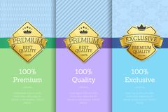 100 Exclusive Premium Quality Labels on Posters. 100 exclusive premium quality labels on certificate of best product with golden stamps decorated by crown and Royalty Free Stock Photography