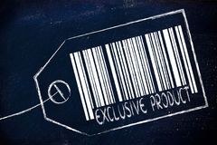 Exclusive Product code bar on product price tag Royalty Free Stock Image